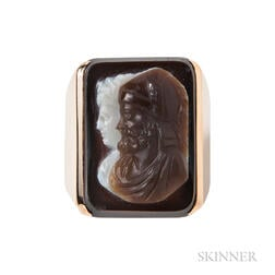 18kt Gold and Hardstone Double Cameo Ring