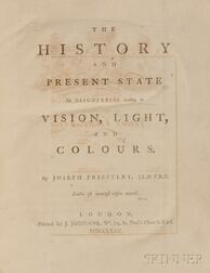 Priestley, Joseph (1733-1804) The History and Present State of Discoveries Relating to Vision, Light, and Colours