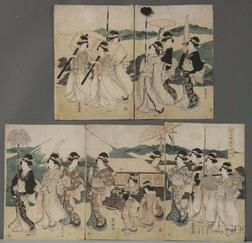 Utagawa Toyokuni (1769-1825), A Procession of Flowers by Mt. Fuji