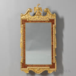Georgian-style Gilded and Veneered Mahogany Mirror