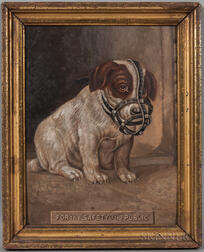 American School, Late 19th Century      For the Safety of the Public  /Portrait of a Puppy