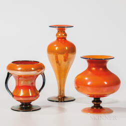 Three Imperial Art Glass Orange Luster Vases