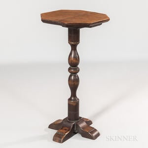 Brown-painted Octagonal-top Cross-base Candlestand