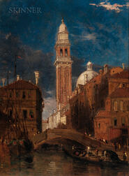 James Holland (British, 1799-1870)      The Leaning Tower of the Church of St. George the Greek