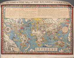 "Gill, MacDonald (1884-1947) The ""Time & Tide"" Map of the Atlantic Charter."