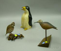 Three Carved and Painted Wooden Bird Figures