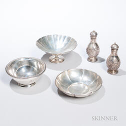 Tiffany & Co. Sterling Silver Footed Bowl and Four Gorham Items