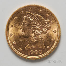 1900 $5 Liberty Head Gold Coin