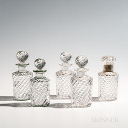 Five Similar Spiral Glass Decanters