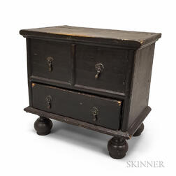 Miniature William and Mary-style Black-painted Pine One-drawer Blanket Chest