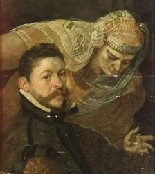 Flemish School, 17th Century Style  Portrait of a Gentleman with an Allegorical Figure Behind Him