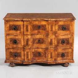 Walnut and Burlwood-veneered Commode
