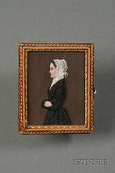 James Sanford Ellsworth (American, 1802/03- 1874)      Portrait Miniature of a Woman Wearing a White Frilly Bonnet.