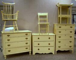 Six Pieces of Yellow-painted Furniture