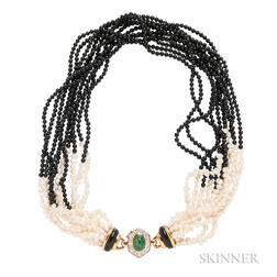 18kt Gold, Emerald, and Freshwater Pearl and Onyx Torsade Necklace
