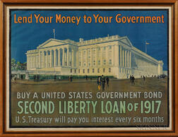 "Framed WWI ""Lend Your Money To Your Government"" Poster"