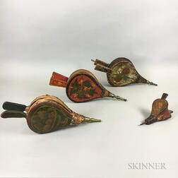 Four Pairs of Paint-decorated and Stenciled Wood and Brass Bellows