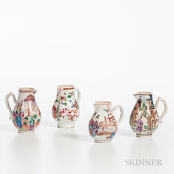 Four Polychrome-decorated Export Porcelain Cream Jugs