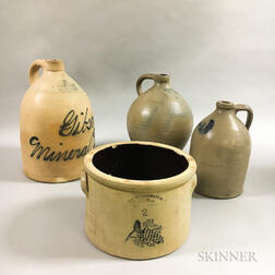 Three Stoneware Jugs and a Crock