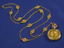 Edwardian Lady's 14kt Gold and Diamond Pendant Watch and Chain