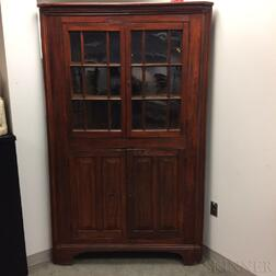 Country Glazed and Stained Pine Corner Cupboard