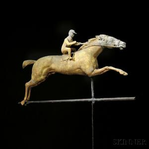 Gilded Molded Copper and Cast Zinc Horse and Jockey Weathervane