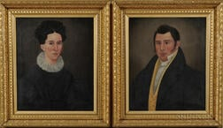 E.E. Finch (act. Maine, c. 1832-50)      Pair of Portraits of a Man and Wife