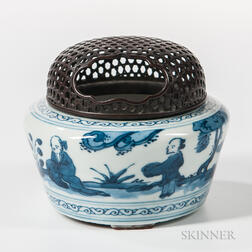 Blue and White Incense Burner and Bronze Cover