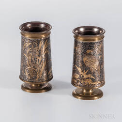 Pair of Aesthetic Silvered Bronze Cups