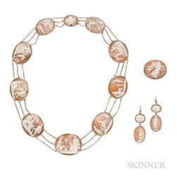 Neoclassical Gold and Shell Cameo Suite