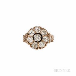 Antique 18kt Gold and Diamond Cluster Ring