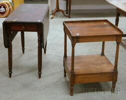 Classical Mahogany Drop-leaf Table with End Drawer and Rope-turned Legs and a Birch Washstand.