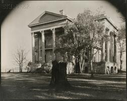 Walker Evans (American, 1903-1975)      Belle Grove Plantation with Tree Stump in Foreground, White Castle, Louisiana