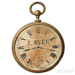 """Gilt and Painted """"J. BYER"""" Watch-form Jeweler's Sign"""