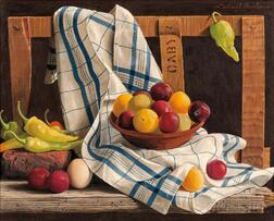 Lodewijk Karel Bruckman (Dutch/American, 1913-1980)      Still Life with Fruit and Chilies