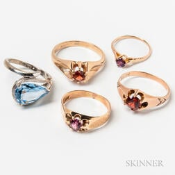 14kt Gold Gem-set Ring and Four 10kt Gold Rings