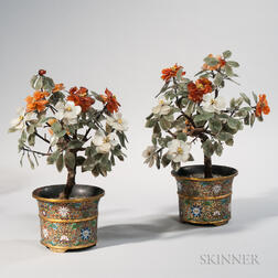 Pair of Hardstone Peonies in Champleve Pots