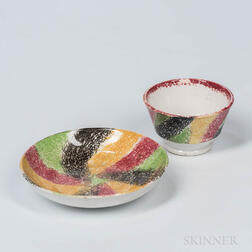 Rainbow Spatter Tea Bowl and Saucer