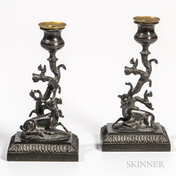 Pair of Bronze Deer-form Candlesticks
