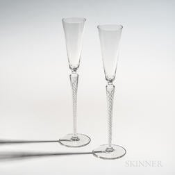 Pair of Rosenthal Studio Line Twisted-stem Champagne Flutes