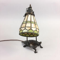 Small Bronze and Slag Glass Turtle-form Desk Lamp