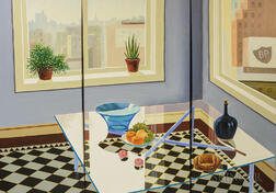 Hing Biu (American, b. 1951)      Triptych: Interior with Glass Coffee Table and Skyline View
