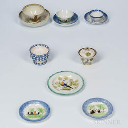 Eight Decorated Pearlware Table Items