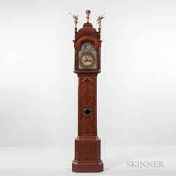 Dutch Burl Walnut Veneered Longcase Clock
