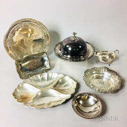 Six Pieces of Sterling Silver Tableware and a Silver-plated Covered Dish