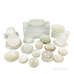Approximately Seventy-nine Colorless Pressed Glass Items