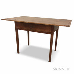 Country Red-painted Maple and Pine One-drawer Tavern Table