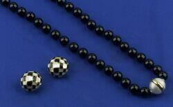 Onyx and Mabe Pearl Necklace and Earrings