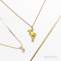 Three 14kt Gold Chains