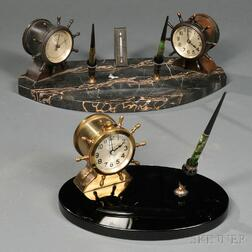 Two Waterbury Clock Company Desk Sets